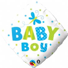 "Baby Boy Dots Dragonfly Foil Balloon (18"") 1pc"
